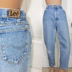 Vintage Lee Jeans Women's XL Petite Distressed Light Wash Womens 33 Inch Waist Tapered Leg 90s Denim