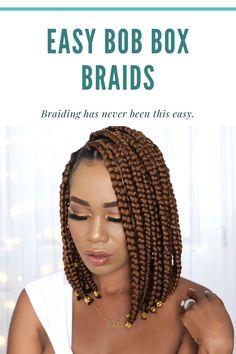 Easy Bob Box Braids Bob Braids, Braids With Curls, Natural Hair Growth, Natural Hair Styles, Long Hair Styles, Pixie Cut Wig, Type 4 Hair, Fulani Braids, African American Hairstyles