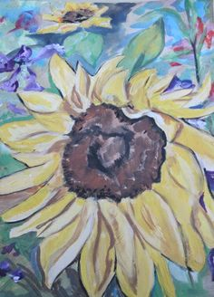 Learn how to paint a sunflower painting like Van Gogh, using a step by step guide to painting a sunflower. Additional sunflower painting tutorial available. Oil Painting Gallery, Art Gallery, Painting Lessons, Painting Techniques, Paint Flowers, Learn To Paint, Van Gogh, Watercolor Art, My Arts