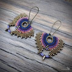 Hey, I found this really awesome Etsy listing at https://www.etsy.com/listing/559088788/macrame-earrings-peacock-earringsczech