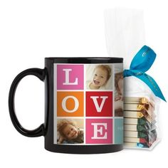 Love Mug, Black, with Ghirardelli Assorted Squares, 11 oz, Pink