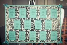 damask/teal wedding seating chart. So cute but with my fuchsia sparkly cardstock! cant wait! :)