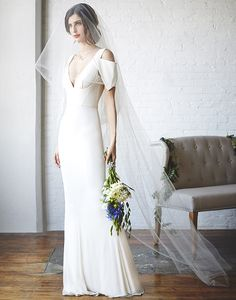 Modern Structured Wedding Dress with Architectural Details | Bri Johnson Photography | http://heyweddinglady.com/urban-bridal-styled-shoot-where-vintage-meets-modern/