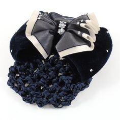 uxcell Rhinestones Detail Bowknot Snood Net Hair Clip Barrette Dark Blue * More info could be found at the image url.