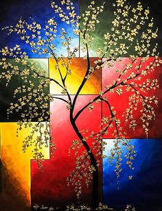 Abstract Landscape Cherry blossom painting by NiksPaintGallery