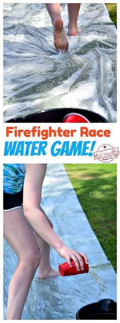 Fire Fighter Race - A Fun Water Game for Kids and Teens to play. Keep the kids entertained and cool off this summer with this fun DIY Water Game for Kids and teens! Firefighter race is easy to set up and take down. Play it over and over again. Get the kids moving and enjoying outside, today! www.kidfriendlythingstodo.com #outdoorgame #summerwatergame #diywatergame #watergameforkids #watergameforteens