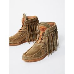 Roseland Moccasin Boot ($378) ❤ liked on Polyvore featuring shoes, free people shoes, real leather shoes, leather shoes, leather fringe shoes and hidden wedge shoes
