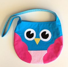 CHILDRENS BAGS pink owl bag for kids aqua and by twoblackrabbits