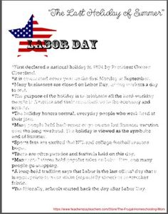 What You Need to Know About Labor Day- free printable worksheet ...