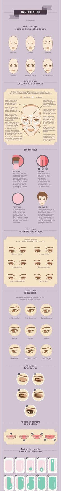 Eyebrows and makeup according to your face shape. Cejar y maquillaje de acuerdo a la forma de tu cara.