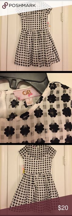 Black and White GB Girls Dress NWT. Fully lined except has sheer sleeves and shoulders. Full skirt. So cute! GB Girls Dresses