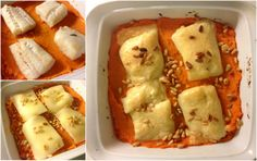 søtpoteter ut i en form- torskefilet- ost på toppen