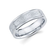 14K White Gold with Greek Key and Milgrain Edges 6mm Classical Wedding Band for Men