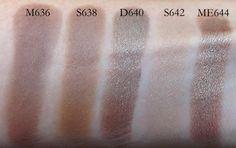 MUFE eyeshadows M636, S638, D640, S642, ME644