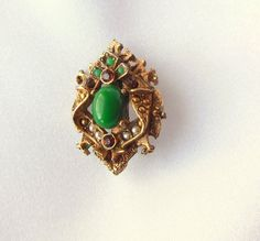 Vintage Brooch Signed ART with Faux Jade and by VJSEJewelsofhope, $18.00