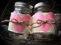Decorated mason jars valentines day mason jars by QUEENBEADER, $15.00