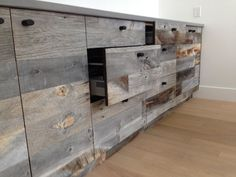 stikwood  (thin reclaimed wood panels) applied to dresser