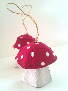 """Egg carton mushroom decorations. I love when Christmas trees get """"Kid-ed out"""" with homemade delights!"""