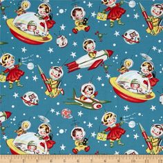 Michael Miller Retro Rocket Rascals Multi from @fabricdotcom  Designed for Michael Miller, this cotton print fabric is perfect for quilting, apparel and home decor accents. Colors include red, yellow, white, blue and green.