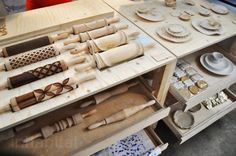 Fantàstic:  Laser-cut rolling pins are used as a tool to create edible bread-based dishware. The designs are by master students of Willem de Kooning Academy in Rotterdam.