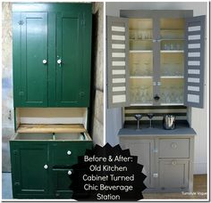 Antique kitchen cabinet made over into freestanding beverage station.  French Linen and Old White Chalk Paint.  www.turnstylevogue.com