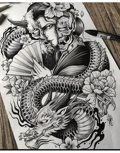 Koi Tattoo Design, Japan Tattoo Design, Japanese Tattoo Designs, Japanese Tattoo Art, Dragon Tattoo Designs, Tattoo Sleeve Designs, Japanese Art, Japanese Warrior Tattoo, Samurai Tattoo Sleeve