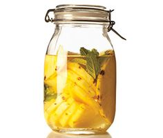 Pineapple-Mint Vodka…Spirits are delicious when infused with fresh fruit. Vodka is like a blank canvas—it will take on the flavor of whatever you add to it. Vodka Drinks, Cocktail Drinks, Fun Drinks, Cocktail Recipes, Beverages, Cocktail Ideas, Martini Recipes, Alcoholic Drinks, Vodka Taste