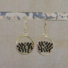 Woven Beads Earring - Black