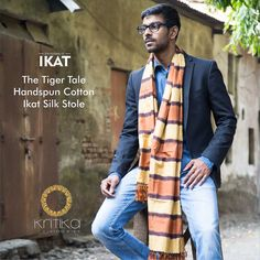 Yarn dyed threads handwoven in an Ikat give this stole a raw look fancied by nature enthusiasts. Handwoven in cotton silk and colors that of a virile tiger, it's a stole you'd be proud to own.