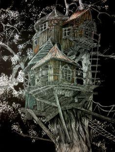 Benjamin's House, Fairy House, Whimsical - Artist Print on Etsy, $35.00
