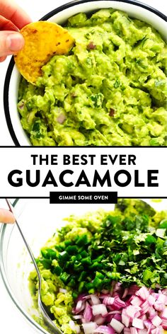 BEST guacamole recipe Its quick and easy to make and always the hit of a party Serve it up with chips tacos nachos burgers or whatever sounds good The BEST guacamole rec. Mexican Food Recipes, Vegetarian Recipes, Cooking Recipes, Healthy Recipes, Easy Yummy Recipes, Mexican Dips, Vegetarian Nachos, Fruit Recipes, Crockpot Recipes