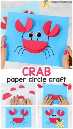 Papierkreis Crab Craft  #craft #papierkreis<br> Crab Crafts, Fun Diy Crafts, Paper Crafts For Kids, Paper Crafting, Paper Paper, Recycled Crafts, Children Crafts, Stick Crafts, Resin Crafts