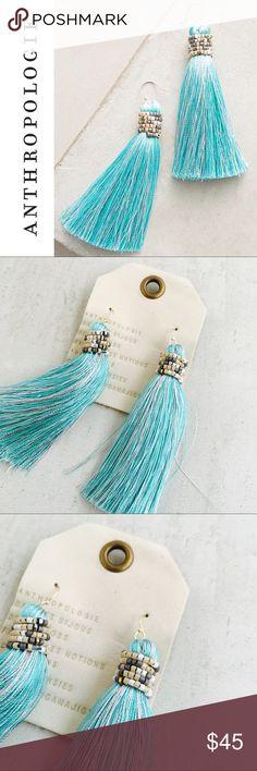 """ANTHROPOLOGIE Latika Drop Earrings * Beautiful turquoise blue silk tassel earrings, wrapped in delicate glass Beaded detail.  * Silk thread, glass beads, brass * 3.25""""L, 1""""W Anthropologie Jewelry Earrings"""