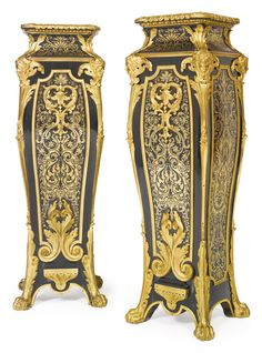 Georges-Alphonse-Bonifacio Monbro, called Monbro Ainé<br>1807-1884<br>A pair of Louis XIV style gilt-bronze mounted and engraved brass inlaid ebony pedestals<br>Paris, mid-19th century | Lot | Sotheby's