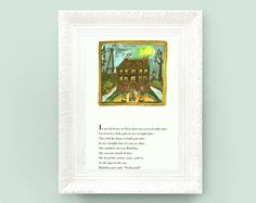 Vintage Madeline Print. Original French Book Plate Illustration 7x10inches.House Poem. France Paris Ludwig Bemelmans