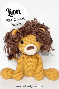 Free Lion crochet pattern. This fluffy maned amigurumi is great for a beginner to intermediate crochet level. Easy to read pattern! Crochet Unicorn Pattern Free, Crochet Keychain Pattern, Crochet Lion, Crochet Baby Cocoon, Crochet Headband Pattern, Crochet Amigurumi Free Patterns, Crochet Baby Booties, Crochet Animals, Free Crochet