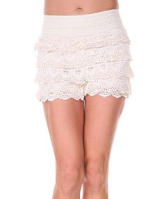 Another great find on #zulily! Beige Crocheted Layered Shorts by Ananda's Collection #zulilyfinds