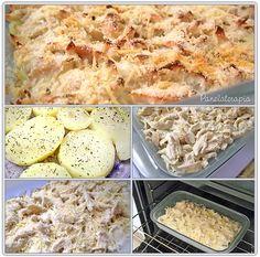 PANELATERAPIA - Blog de Culinária, Gastronomia e Receitas: Batata com Frango ao Molho de Gorgonzola