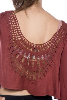Cropped and Cute Embroidered Back Crop Top - Burgundy from Mind Code at Lucky 21