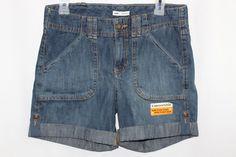 Womens Lee Jean Denim Shorts Convertible Length Adjustable Leg Cuff Size 4 M #Lee #CasualShorts