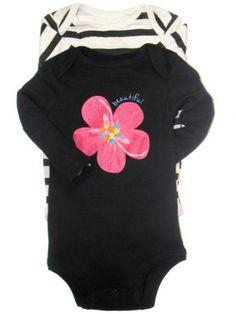 2 Pack of Hot Pink Flower Long Sleeve Girls Onesie « Clothing Impulse
