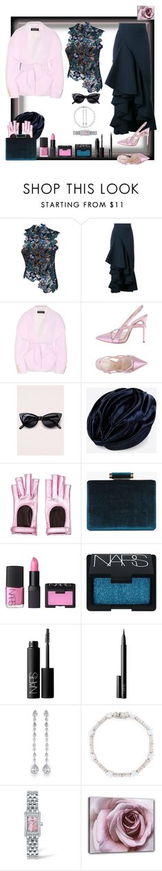 """In this gloomy weather we need something sweet and soft!"" by ritva-harjula ❤ liked on Polyvore featuring self-portrait, A.W.A.K.E., Balmain, Casadei, Valentino, Gucci, Boohoo, NARS Cosmetics, CZ by Kenneth Jay Lane and Longines"