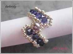 Swarovski Purple S Ring RG181  PDF Tutorial by darlovely on Etsy, $5.20
