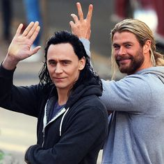 Tom Hiddleston as Loki and Chris Hemsworth