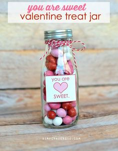 This darling Valentine's Day treat jar is simple to put together, and perfect for friends, teachers, neighbors, co-workers, and more! FREE printable!