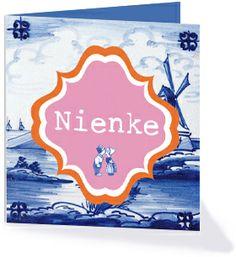 Trots op Nederland? Kies dan voor dit geboortekaartje uit de collectie 'hollands' met molens en delftsblauw.