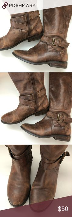 281236dd532d Marc Fisher Riding Boots Brown tall Marc Fisher riding boots. Strappy  detailing around ankles with