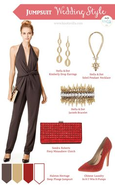 Jumpsuit Wedding Guest Style - Grey Red Gold