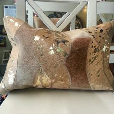 725 Yale St Houston Texas Cowhide Custom Pillow in a Gold Metallic perfect for your home.