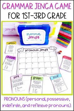 This fun and engaging color Jenga game is perfect for spicing up literacy centers, review, or test prep. It contains questions for grammar practice with PRONOUNS (personal, possessive, indefinite, and reflexive pronouns). Game can be played in partners or a small group during readers workshop or literacy centers. It is great for early finishers or morning work as well. This grammar game for kids is hands-on and interactive.